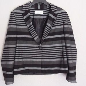 Calvin Klein striped black and grey blazer size 4